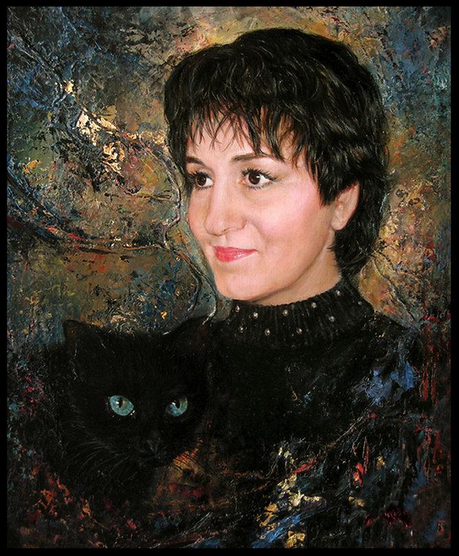 Autoportrait avec chat -Huile sur toile - www.plazamargarita.com