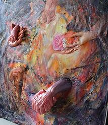 PLAZA_Margarita_Moments_roses_peinture_sculpture poudre de marbre reconstitué