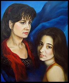Mère et fille - Portrait à l'huile sur toile - www.plazamargarita.com