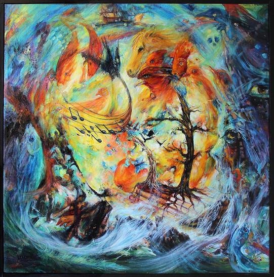 Le langage des oiseaux n°9_ Huile /toile 50x50