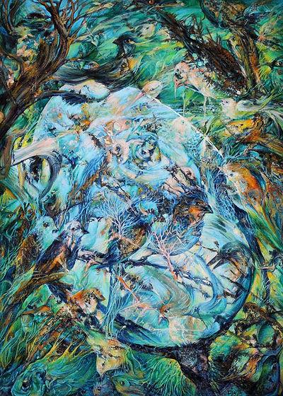 Le langage des oiseaux-Huile sur toile.J