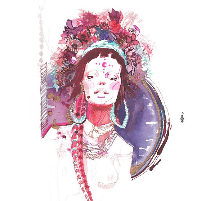 Lola_Bohemian_Headress_Flowers_Watercolo