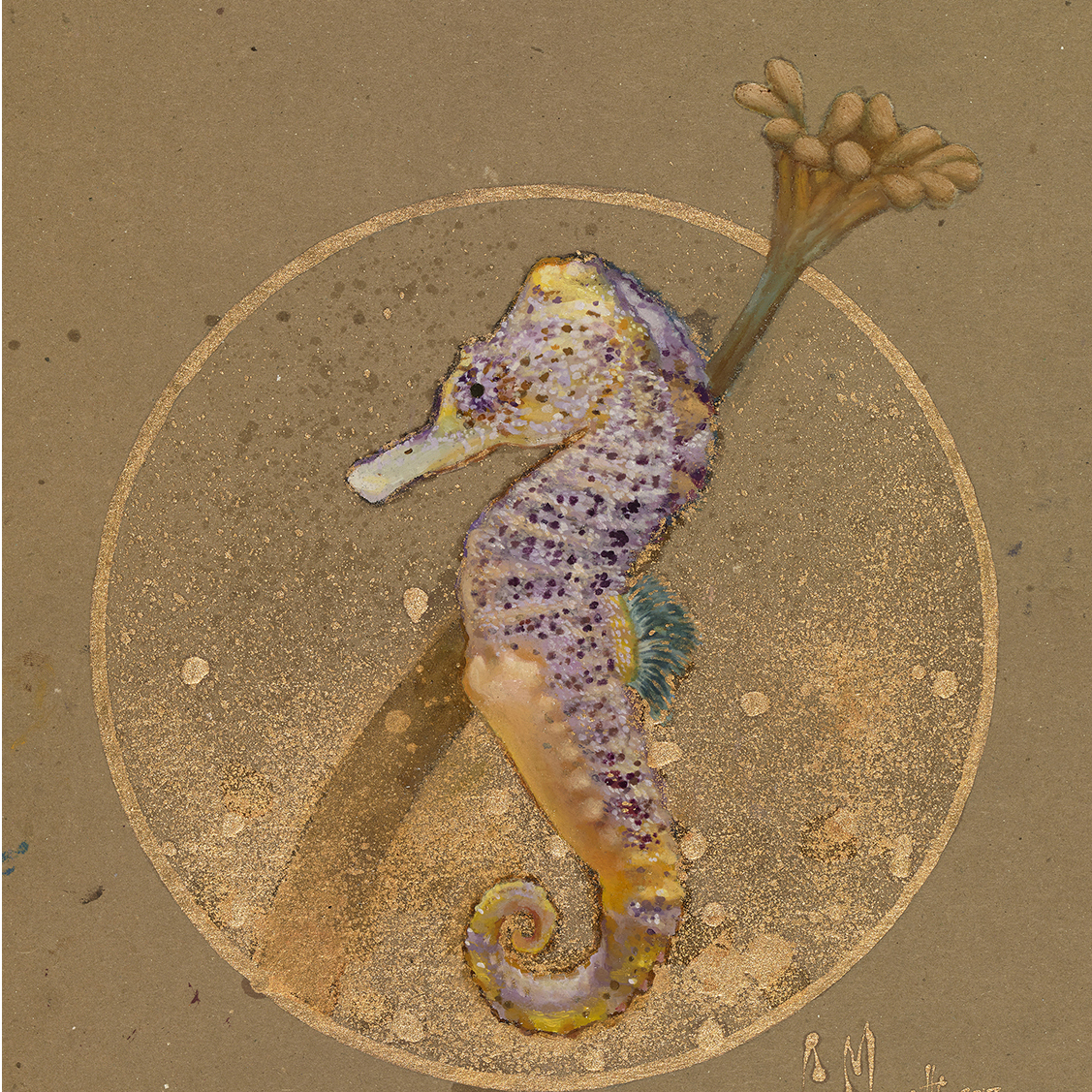 Violet and Gold_Seahorse_Painting_Art_Oi