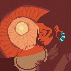 Tribal_Poster_Drum_Sun_Sunset_Illustrati