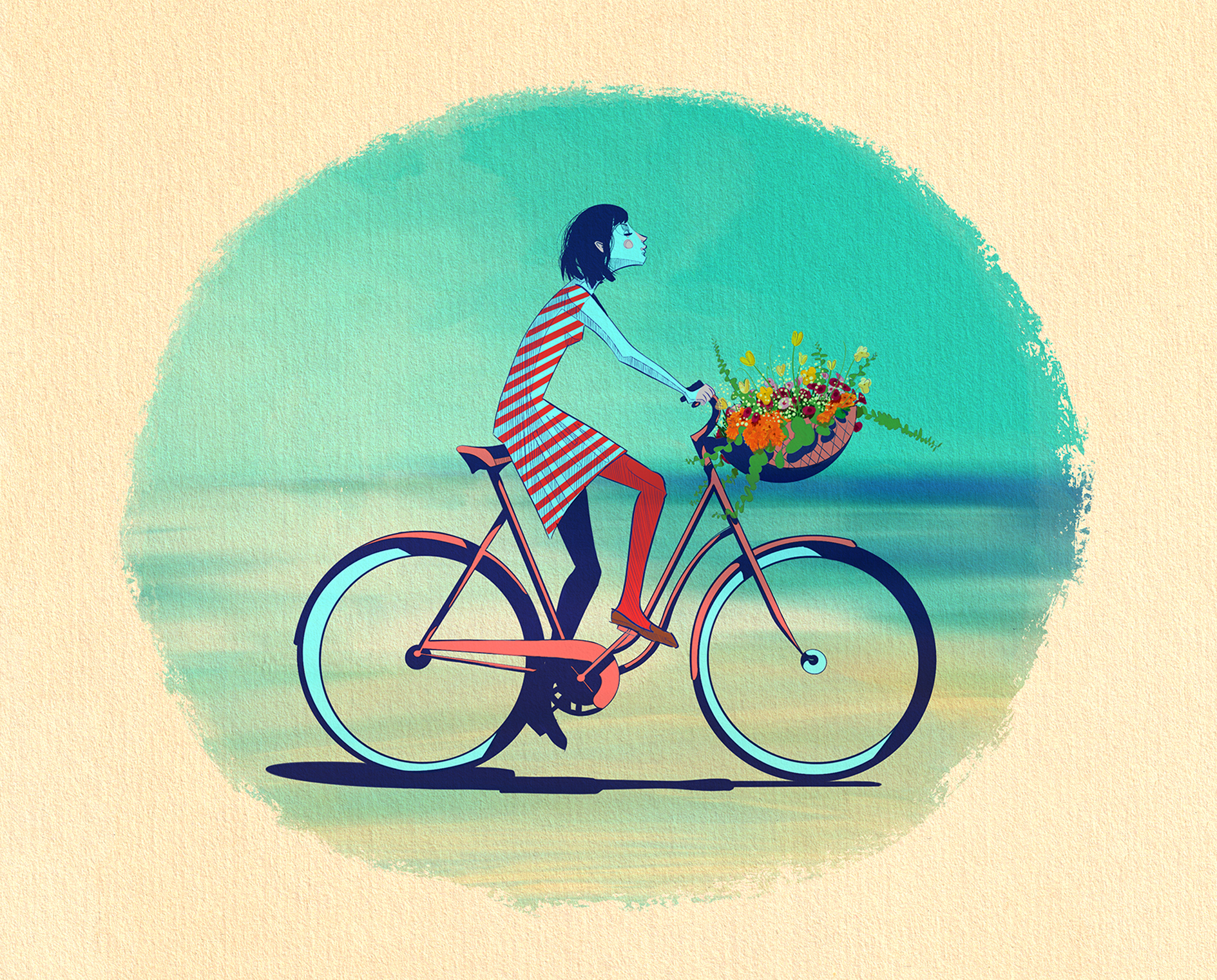 Bicycle_Girl_Woman_Illustration_Greeting
