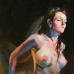 Harp_Art_Painting_Woman_Female_Nude_Pink