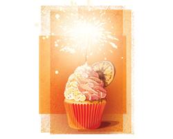Cupcake_Orange_Birthday_Candle_Illustrat