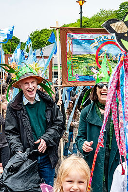 Textile Banner Parade by Edgelands Arts