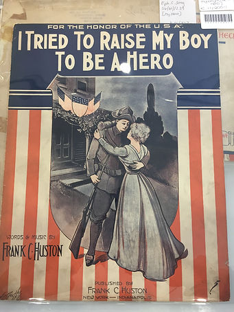 An image of the front cover of sheet music for 'I Trid to Raise my Boy to Be a Hero' by Frank Huston
