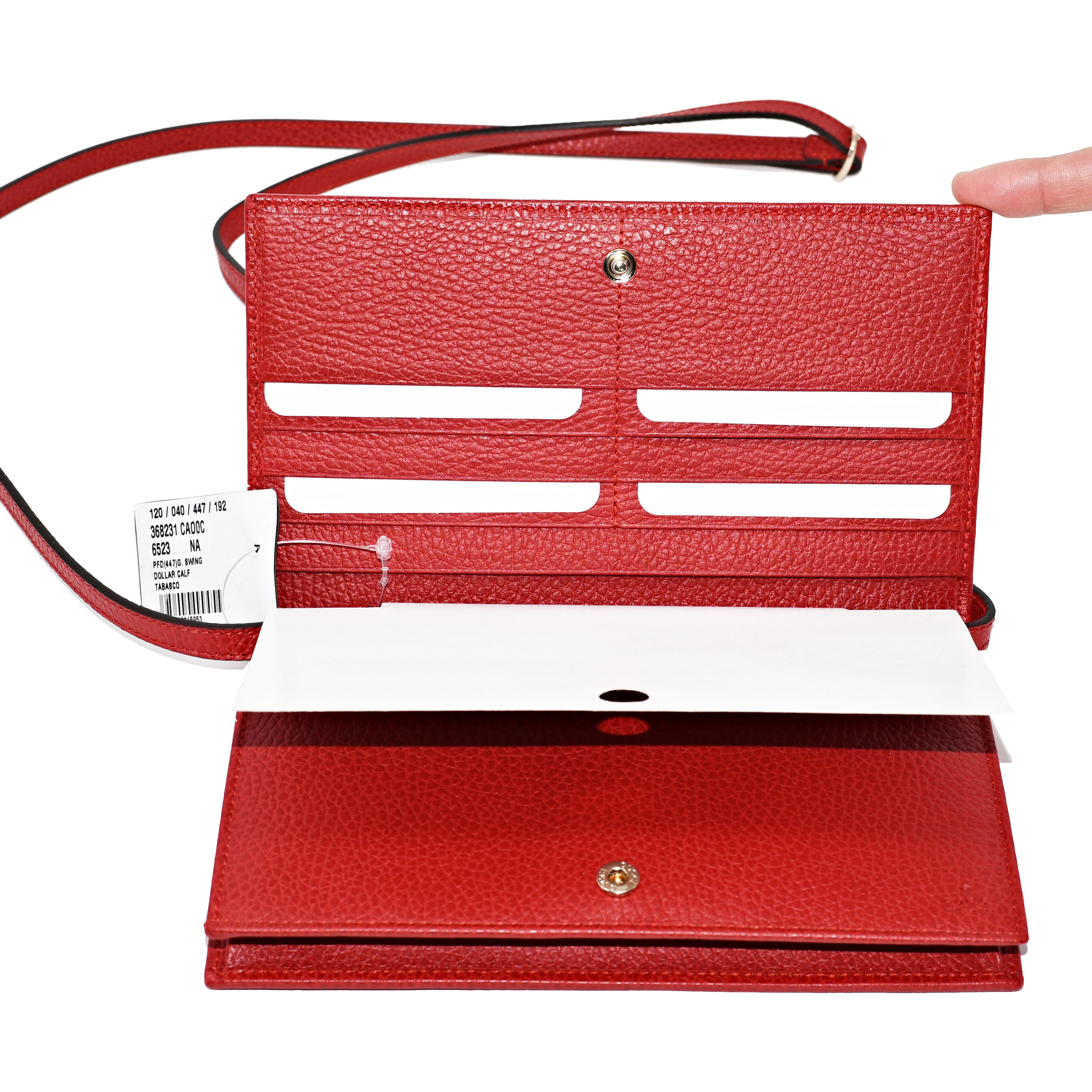2d11a16ea1ed Gucci Swing Wallet On Strap Red Leather Cross Body Bag