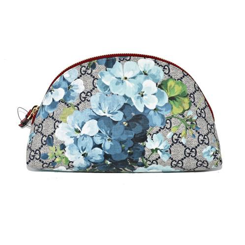 9537490319a2b0 Gucci 431379 Gg Blooms Clutch/Pouch Beige /Ebony/Blue Supreme Canvas Clutch