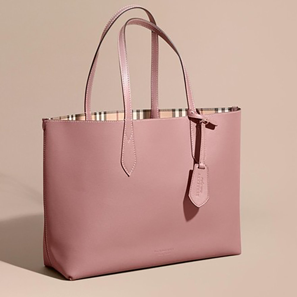4504407ea257 Burberry Small Lavenby Reversible House Check And Leather Tote