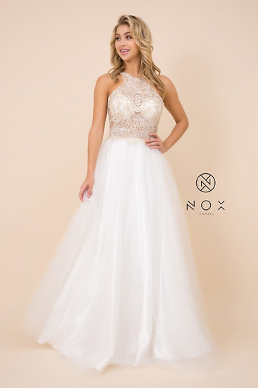 High Neck, Glittering Embroidery Bodice Wedding Dress