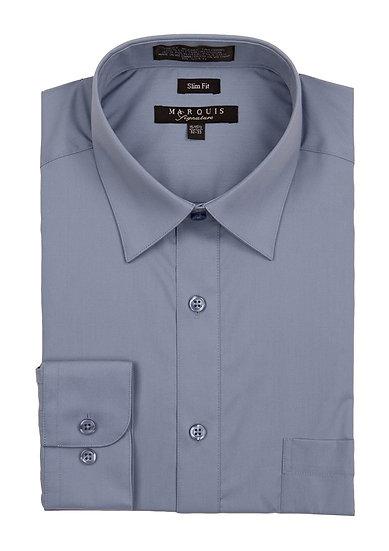 Steel Blue Slim Fit Dress Shirt
