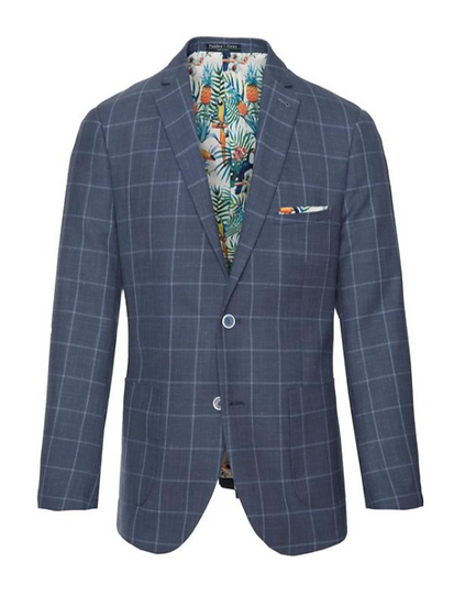 Dover Notch Jacket - Navy & Light Blue Windowpane