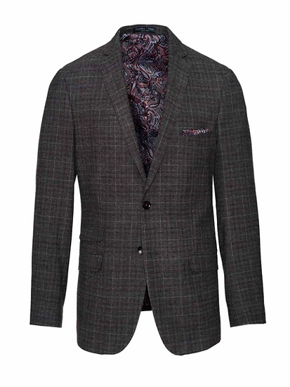 DOVER NOTCH JACKET - CHARCOAL, BERRY & CREAM PLAID