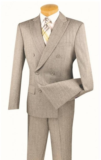 Slim fit, Tonal striped double breasted suit