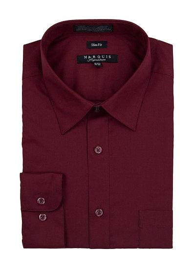 Burgundy Slim Fit Dress Shirt