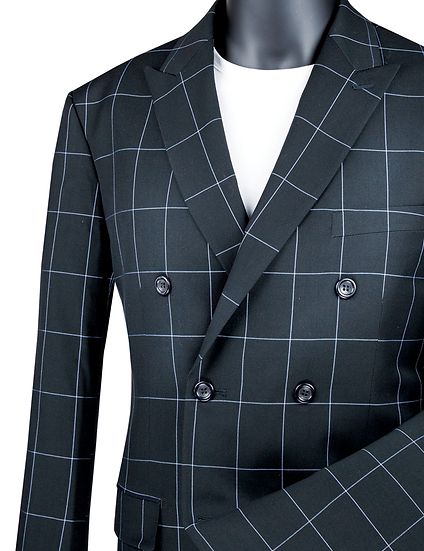 Slim fit, Plaid double breasted suit