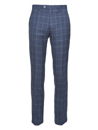Dover Notch Pants - Navy & Light Blue Windowpane