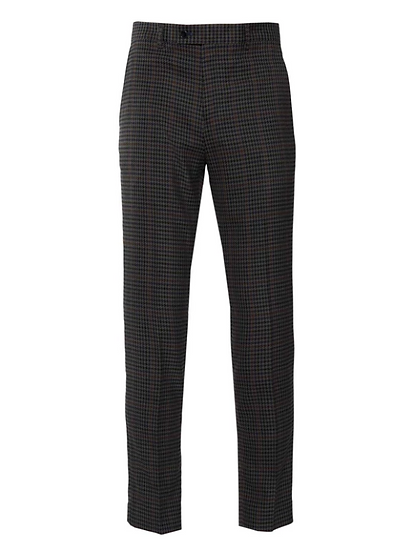 Downing Pant - Olive & Blue Houndstooth