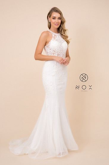 High Neck, Lace Bodice Mermaid Wedding Dress
