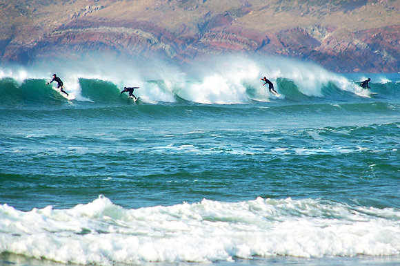 Surfing at Freshwater West