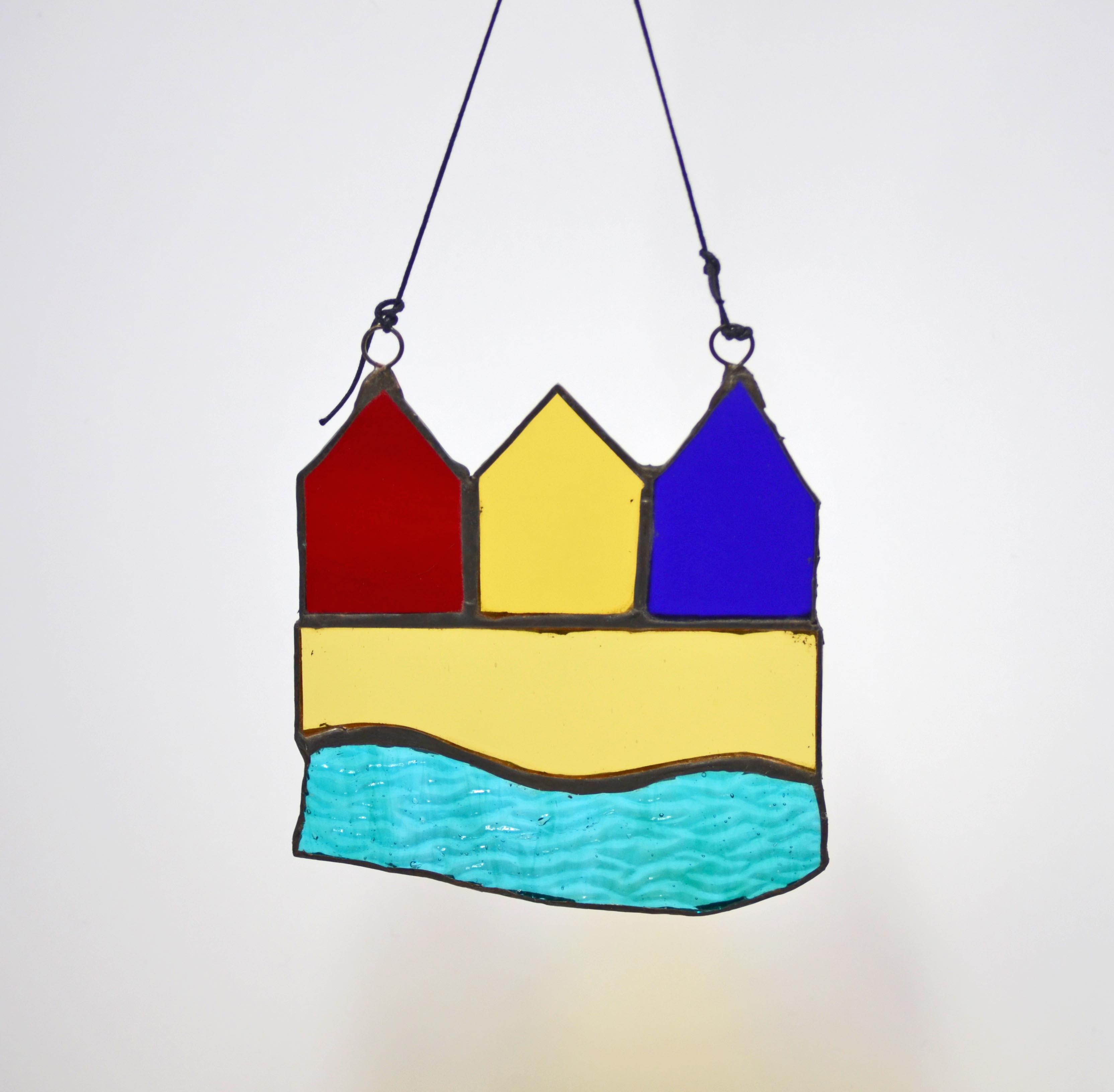 3 Beach Huts hanger, on chord