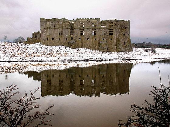 Snow at Carew Castle