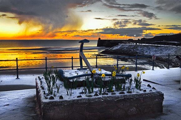 Snowy Sunrise Across Saundersfoot
