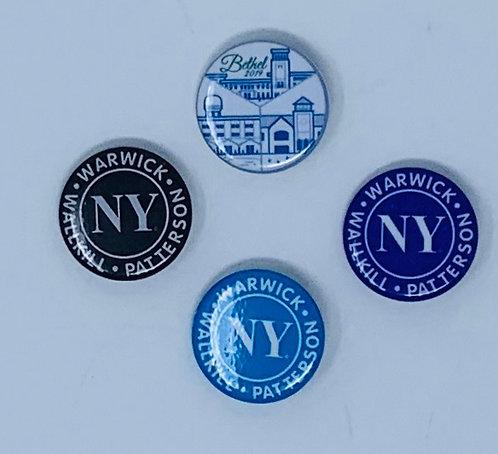 Button Pins- Bethel & NY Logo