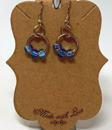 Mini Hoop Earrings with Blue Glass Beads