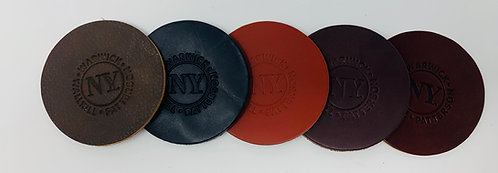 Leather Coaster- Round With NY Logo