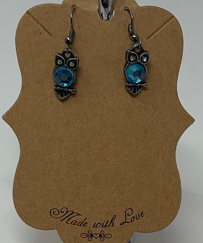 Mini Owl Earring with Blue Glass
