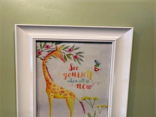 Giraffe 'See Yourself' Poster with Frame