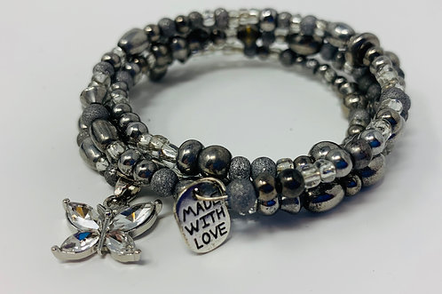 Handmade Hematite & Glass Bead Memory Wire Bracelet