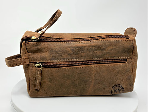 NY Leather Shaving Bag