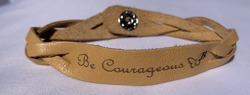 'Be Courageous' Stamped Leather Bracelet