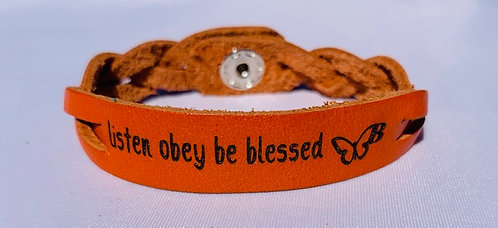 'Listen Obey Be Blessed' Stamped Woven Leather Bracelet