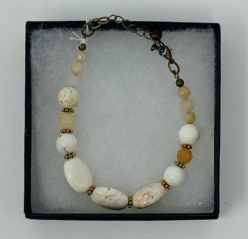 Agate & Magnesite Bracelet