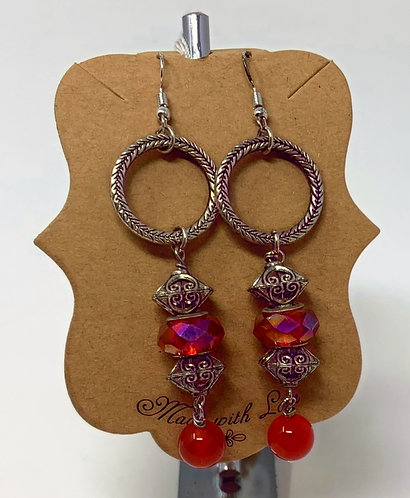 Silver Plated Lampwork Earrings with Red Jade Beads