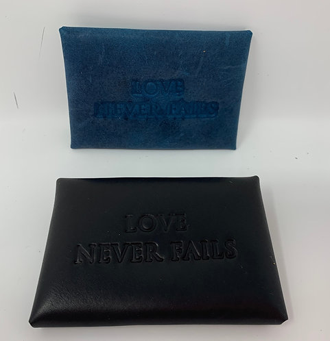 Contact Card Holders-Leather- Love Never Fails-English