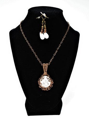 Handmade Jewelry Combo – White Howlite on Copper