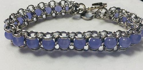 Handmade Lavender Quartzite Silver Plated Chain Maille