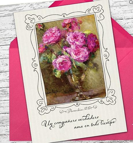 Spanish Greeting Card-Proverbios 17:17