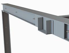 Détail de portique composé pour renfort structurel