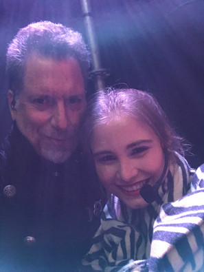 Freezing with Claire before the show in Concepcion