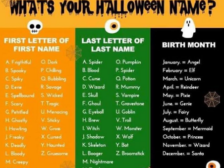 Hallowe'en 2020 - What is YOUR Hallowe'en Name??