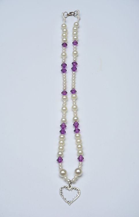 PEARLY PURP BARB HEART NECKLACE (53CM)