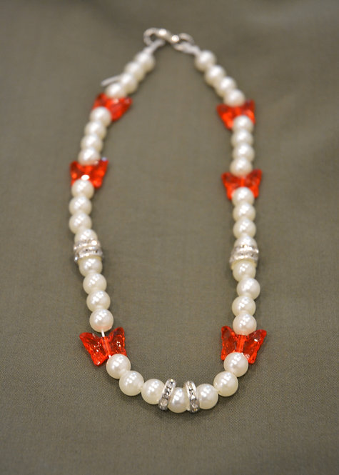 PEARLY RED-FLY NECKLACE (40CM)